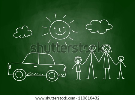 Drawing of family and car on blackboard - stock vector