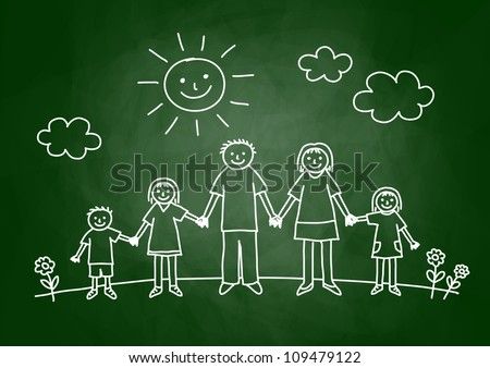 Drawing of family on blackboard - stock vector
