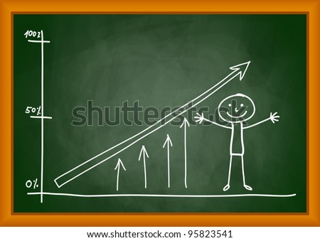 Drawing of graph on blackboard - stock vector