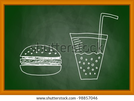 Drawing of hamburger on blackboard - stock vector
