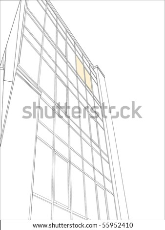 Drawing of highrise glass building - stock vector
