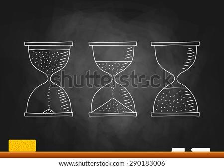 Drawing of hourglass on blackboard  - stock vector