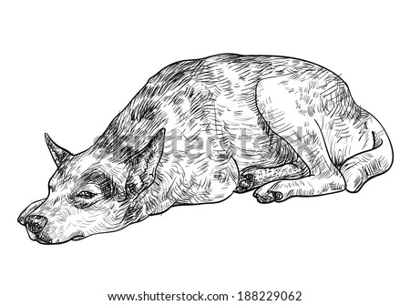 Drawing of laying dog express lonely in its eye - stock vector