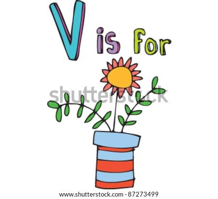 Drawing Letter V Vase Stock Vector 87273499 Shutterstock