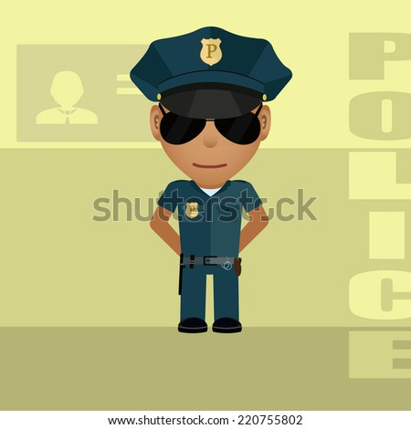 Drawing of policeman in style of the animated film.  - stock vector