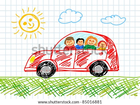 Drawing of red car - stock vector
