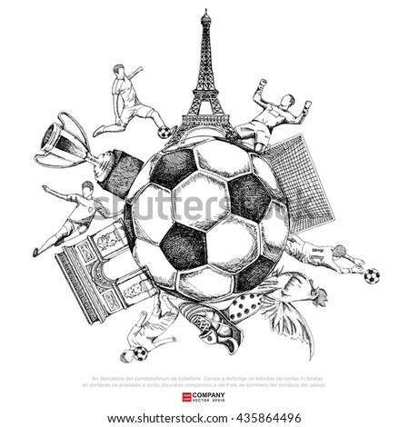 Drawing of soccer background ( Line only  version ),Poster ,Brochure .illustration eps10