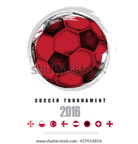 Drawing of soccer background ,Poster ,Brochure ,Logo.illustration eps10 - stock vector