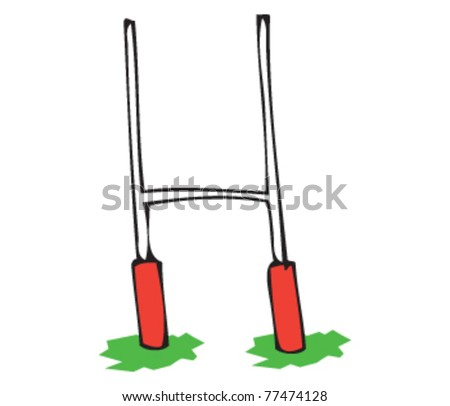 Drawing of some rugby posts - stock vector