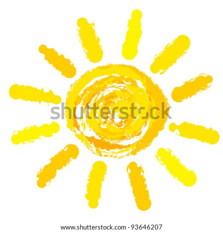 Drawing of sun. Vector illustration - stock vector