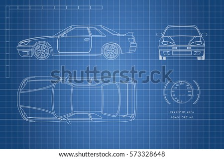 Drawing car on blue background top stock vector 573328648 shutterstock malvernweather Images