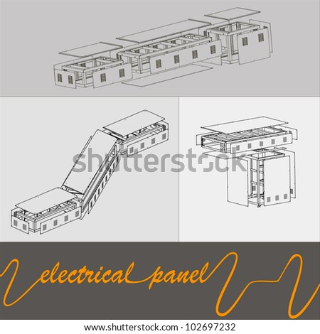 drawing of the connections of electrical panels in the factory - stock vector