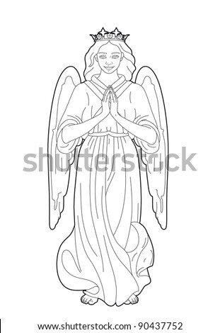 Drawing of the Virgin Mary - stock vector