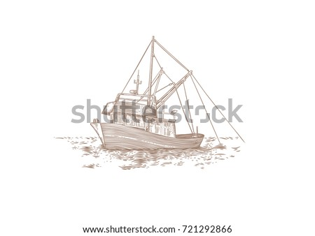 Drawing of trawler fishing at the sea