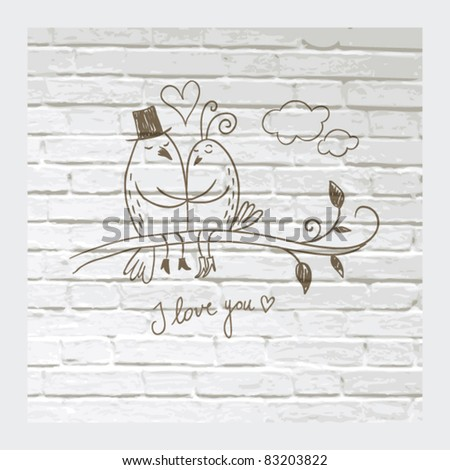 Drawing of Two loving birds on white brick wall - stock vector