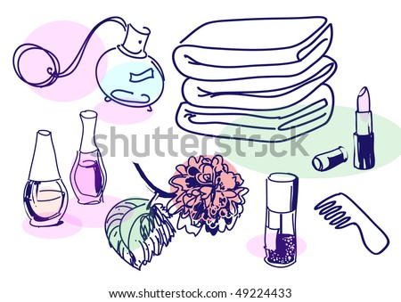 Drawing of vintage cosmetics set - stock vector