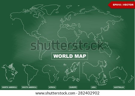Drawing of world map and continents Atlas on blackboard - stock vector