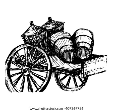 drawing, old wooden cart for transport of wine, wooden barrels of wine and wine basket, sketch, ink, hand-drawn vector illustration - stock vector
