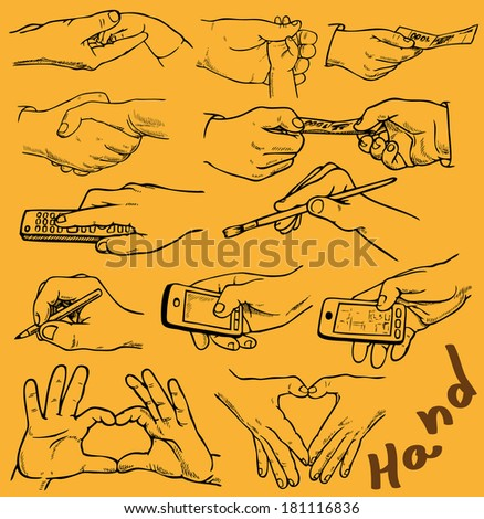 Drawing on paper. Image of hands with different gestures.