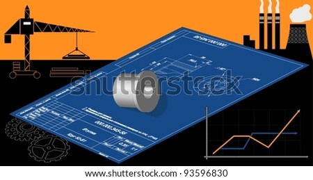 Drawing on the background of the technological landscape - stock vector