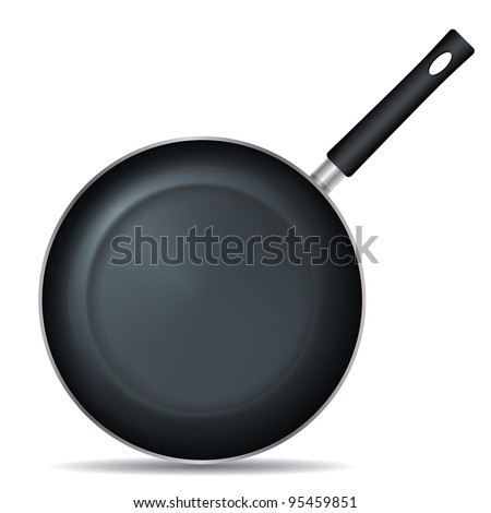 Drawing on the frying pan with a white background