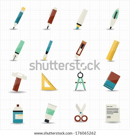 Drawing painting tools icons and stationery set with white background - stock vector