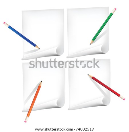Drawing pencil on paper in different positions - stock vector
