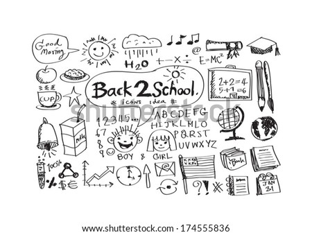 drawing school items Back to School Vector illustration