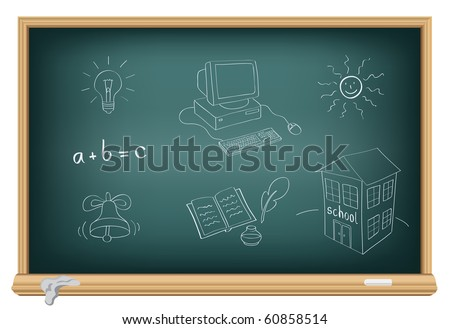 Drawing school subjects by a chalk on the classroom blackboard - stock vector