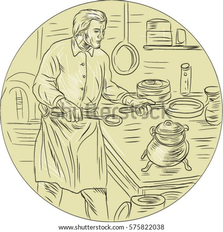 Drawing Sketch Style Illustration Of A Cook Chef In Medieval Times Wearing Apron Holding Pan Cooking