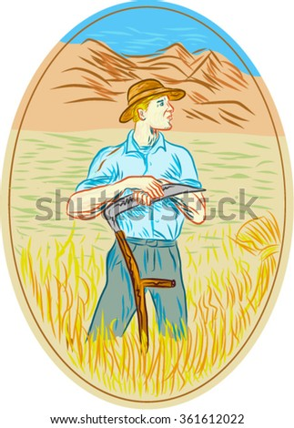 Drawing sketch style illustration of wheat organic farmer with scythe looking to the side set inside oval shape with mountain and field in the background.  - stock vector