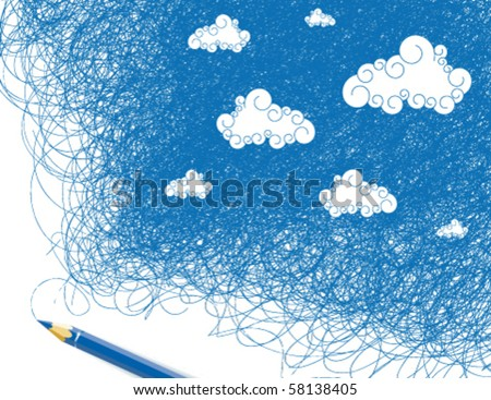 Drawing sky - stock vector
