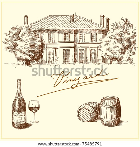 drawing - sunny romantic house on the south - stock vector