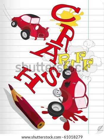 Drawing the car and failure - stock vector