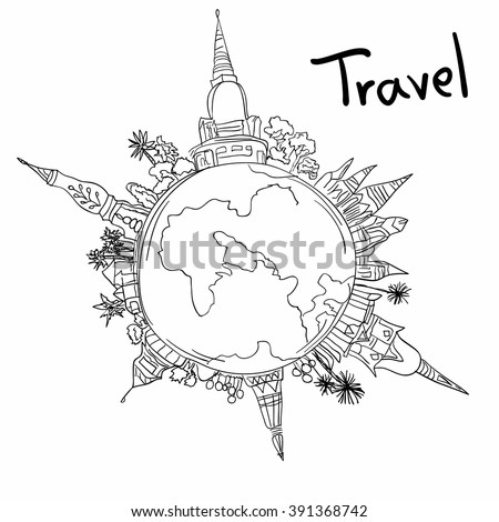Aviation Travel Doodle On White Background Stock Illustration