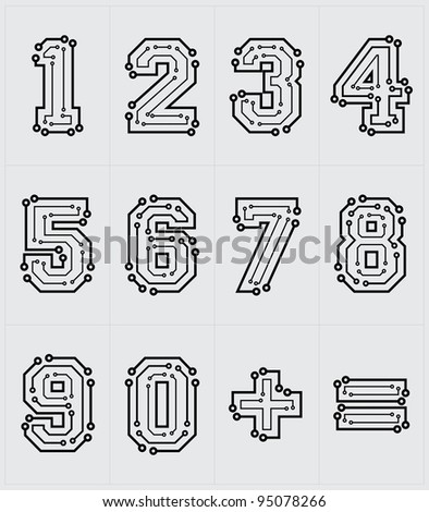 Drawing the electronic numbers are on a white background - stock vector