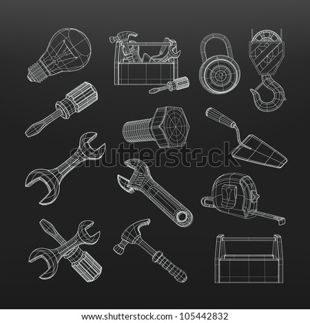 Drawing tools set, vector - stock vector