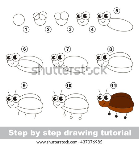 Drawing Tutorial Children Easy Educational Kid Stock Vector ...