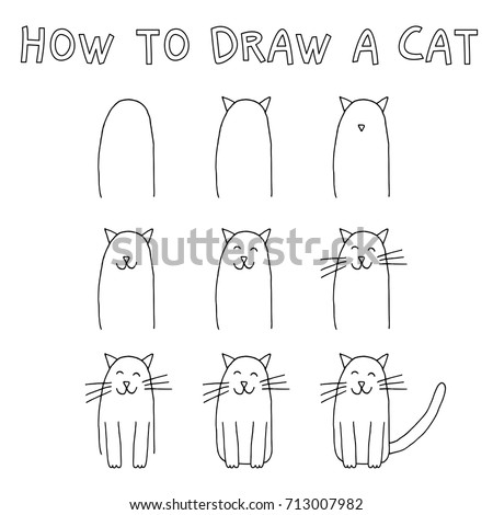 Drawing tutorial for children how to draw a cat step by step