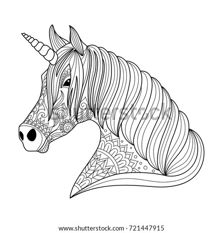 Drawing Unicorn Zentangle Style For Adult And Children Coloring Book Tattoo Shirt Design