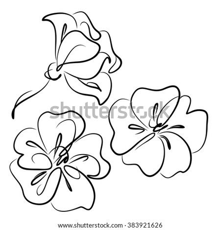 Drawing vector graphics with floral pattern for design. Floral flower natural design. Graphic, sketch drawing. set.  branches, trees, flowers