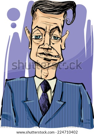 Drawing Vector Illustration of Man i Suit Caricature Sketch