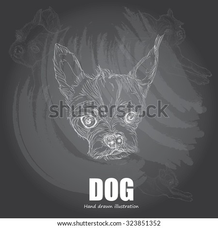 drawing vector of dog background on chalkboard