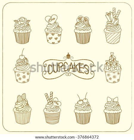 Drawing vector of the nine cupcakes.