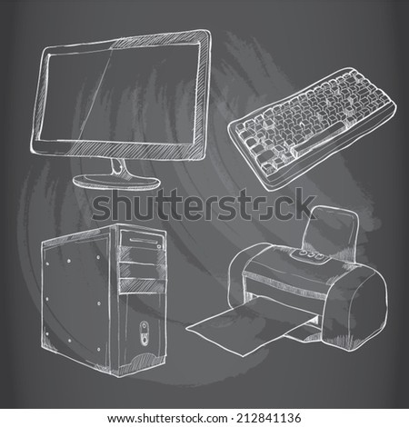 drawing vector Set of computers on chalkboard - stock vector
