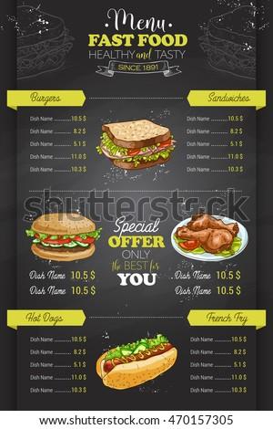 Drawing Vertical Color Fast Food Menu Design On Blackboard