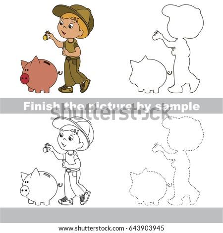 drawing worksheet preschool kids easy gaming stock vector 643903945 shutterstock. Black Bedroom Furniture Sets. Home Design Ideas