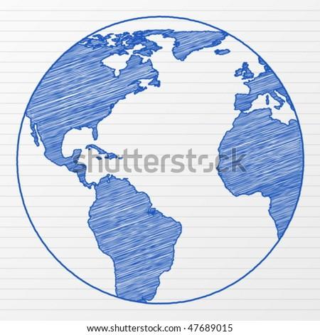 Drawing world globe on a notepad sheet. Vector illustration. - stock vector