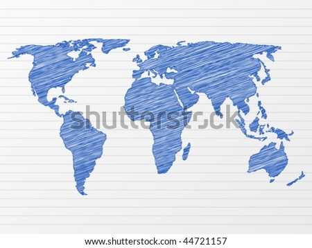 Drawing world map on a notepad sheet. Vector illustration. - stock vector