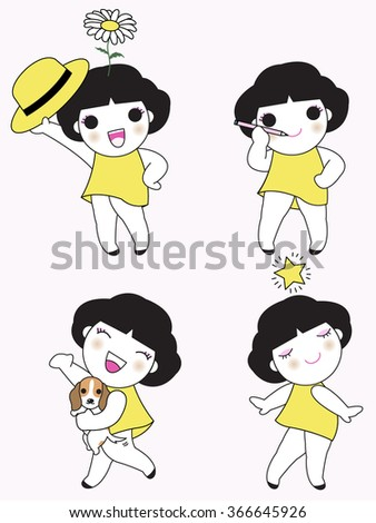 Drawing Yourself Happy Character illustration - stock vector